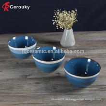 Keramik Steinzeug Reis Schüssel mit farbigen Rand, benutzerdefinierte schöne Farbe Glasur Steinzeug Reis Schüssel