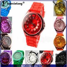 Yxl-265 moda colorida mulheres silicone macio relógios banda de marcação de quartzo analógico relógio de pulso relógio de pulso