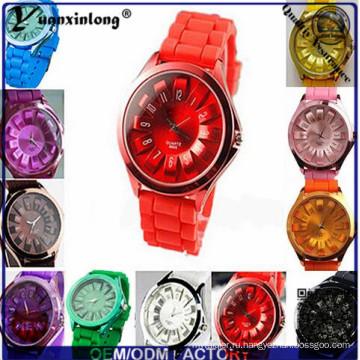 Yxl-265 Красочные Женщины Мода Мягкие Силиконовые Часы Браслет Циферблат Кварцевые Аналоговые Наручные Часы Наручные Часы