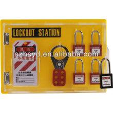 CE certificación 4 * candado de seguridad + 2 * 6 agujero cerradura hasp + 25 bloqueo etiquetas bloqueo de la estación