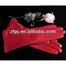 Red 30cm long ladies Gants minces en cuir de style moyen