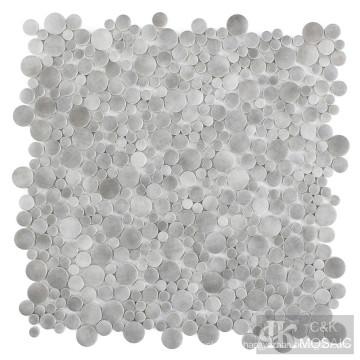 Grey Bubble Fabric Printing Glass Mosaic Tile