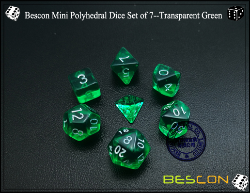 Bescon Mini Polyhedral Dice Set of 7--Transparent Green-3