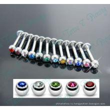 Смешанный Цвет камень кристалл Лабретка пирсинг Лабретка кольцо Хирургическая сталь 316L ювелирные изделия тела
