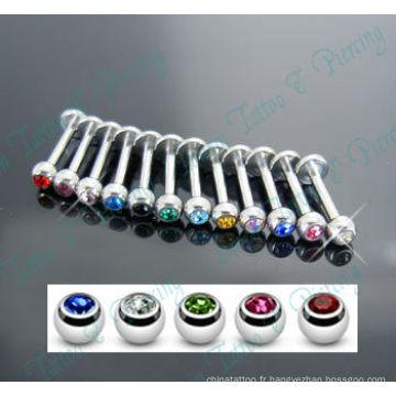 Cristal de pierre de couleur mélangée Labret piercing Labret Ring 316L Acier chirurgical Bijoux de corps de mode