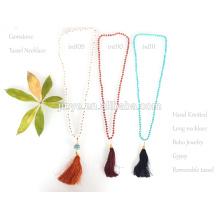 Handgemachte Knoten Kristall Perlen Quaste Mala Halskette