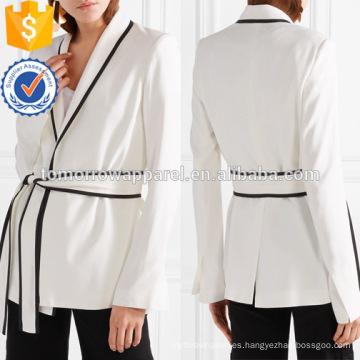 Venta caliente con cuello en V manga larga blanco y negro abrigo de primavera abrigo de la fabricación de prendas de vestir al por mayor de la manera de las mujeres (TA0010J)