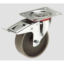 Rodízio industrial da roda do ferro de carcaça 4inch com freio