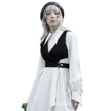 punk patch for clothing metallic sleeveless heated vest  hollow out women asymmetric lapel short waistcoat OPY-580MJFPUNK RAVE
