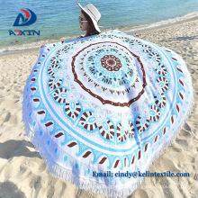 Toalla de playa del mandala al por mayor de China con las borlas