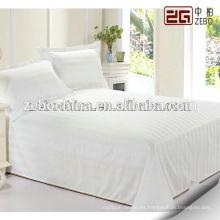 100% Algodón suave tela de rayas de raso Hotel blanco usado hojas de cama de tamaño Queen