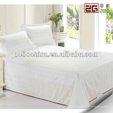 100% Cotton Soft Satin Stripe Fabric White Hotel Used Queen Size Bed Sheets