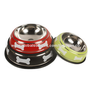 Stainless Pet Bowl, Assorted Colors are Available, Economic and Hot Selling, OEM Logos are Welcome