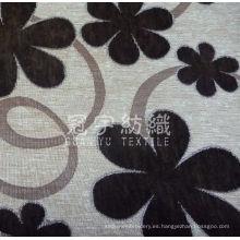 Tejido de chenilla de textiles para el hogar con estampado de flores para sofá