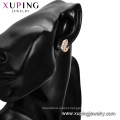 97123 xuping luxury fashion rose gold color synthetic zircon paved ladies hoop earrings