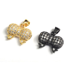 Fashion Bow Bowknot Jewekry Accessory Charms Pendant with CZ