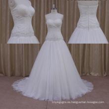 Vestidos de boda de la manga del casquillo de la línea de la cintura de la gota hechos en China