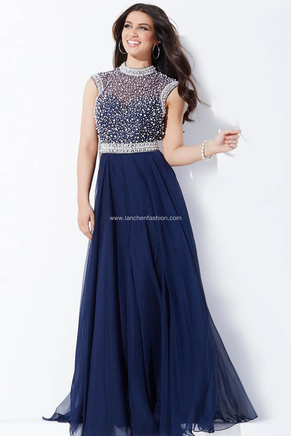 Sleeveless Shimmery Floor Length Prom Dress