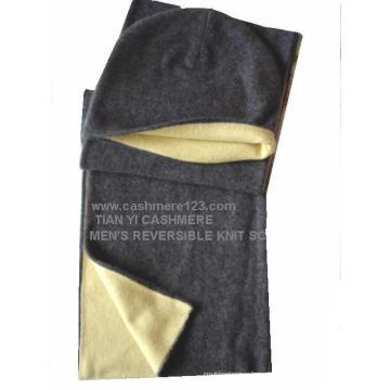 TY509 Cashmere malha cachecol reversível Hat Set