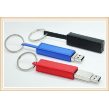 Preto novo couro chaveiro usb flash drive (el014)