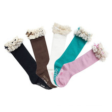 Children Kneehigh Cotton Stocking Socks with Lace (KA004)