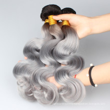 26 28 30 Inch Brazilian Hair Wholesale Price Straight Ombre Grey Color Human Hair For Braiding