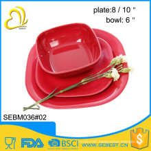 custom logo designs melamine bowl and plate bamboo tableware