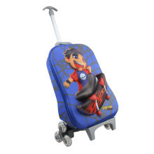 Cartón lindo carro mochilas dulce niños rodando mochila escolar