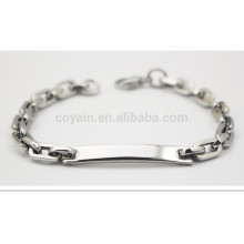Blank Tag Chain Bracelet With Small Lobster Clasp