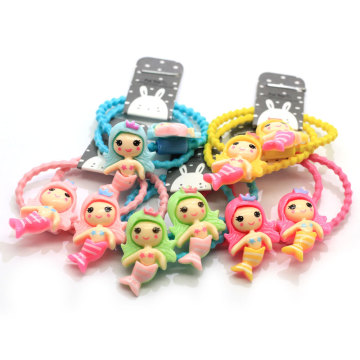 100pcs/lot Girl Mini Hair Band Fashion Candy Color Rubber Mermaid Girl Ties Ring Elastic Hair Rope Ponytail Holder