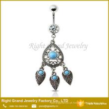 Anel de Aço Cirúrgico Umbigo Dangle Anel com Sonho Apanhador Precioso Turquesa Jeweled Jóias Corpo