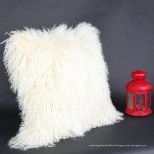 Gros tibétain mongol fourrure d'agneau peau de mouton taie d'oreiller naturel tacheté