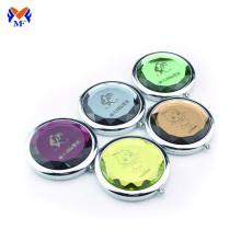 Espelho de bolso de maquiagem compacto redondo de metal