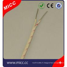 Type de fil de thermocouple K- 2x20 AWG Silice vitreuse
