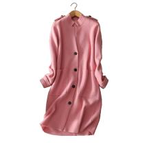 2017 high-end benutzerdefinierte lange kaschmir mantel frauen 100% reine kaschmir schulter schnalle doppel tasche pullover strickjacke jacke