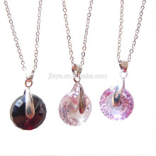 Fashion Long Bling Simple Minimal Round Faceted Zircon Pendant Chain Necklace