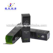 Moda de luxo impresso novo papel high end elegante preto france caixas de embalagens de cosméticos