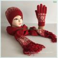 Make Red Winter Autumn Warm Fashion New Circle Machine Jacquard Acrylic Wool Knitted Hat Glove Scarf Sets