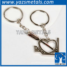 silver heart and arrow metal keychain