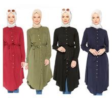 Moda Mujeres modelos medianos S-6XL maxi bloque de color Wear Arab Girls Plus tamaño largo vestido islámico blusa de la camisa vestido