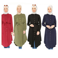 Мода женщины средних моделей s-Размер 6xl макси цвет блока носить Арабские девушки плюс Размер длинные Исламская одежда рубашка блузка платье