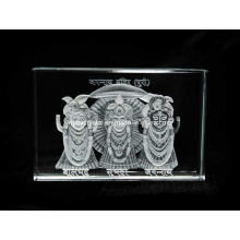 3 Inches Crystal Engraved with Jagannath Ji Image for Hinduism (R3019)