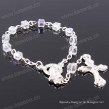 Transparent 4mm Square Crystal Beads Catholic Bracelet