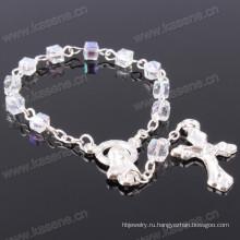 Прозрачный 4мм квадратный хрустальный бисер Католический браслет