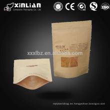 Natural Bolsas de papel Kraft Ziplock Window 250g 500g para el café, Nuts Packaging