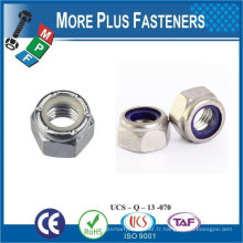 Fabriqué en Taiwan M12-1.75 DIN 985 Grade A2 en acier inoxydable Nylon Insert Lock Nut