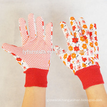 Woman garden working gloves with PVC dots palm