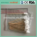"""6"""" wooden applicators 11mm diameter cotton head cotton swabs"""