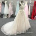 A linha rosa aberta de volta sem mangas vestidos de baile com grânulos Halter vestido de noite longo vestido