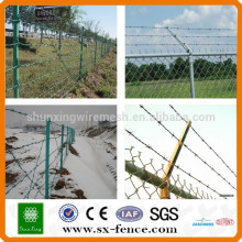 Military barbed wire fence